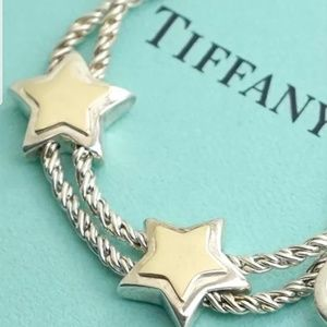 TIFFANY VERY RARE 18KT/925 DBL. STAR ROPE BRACEL